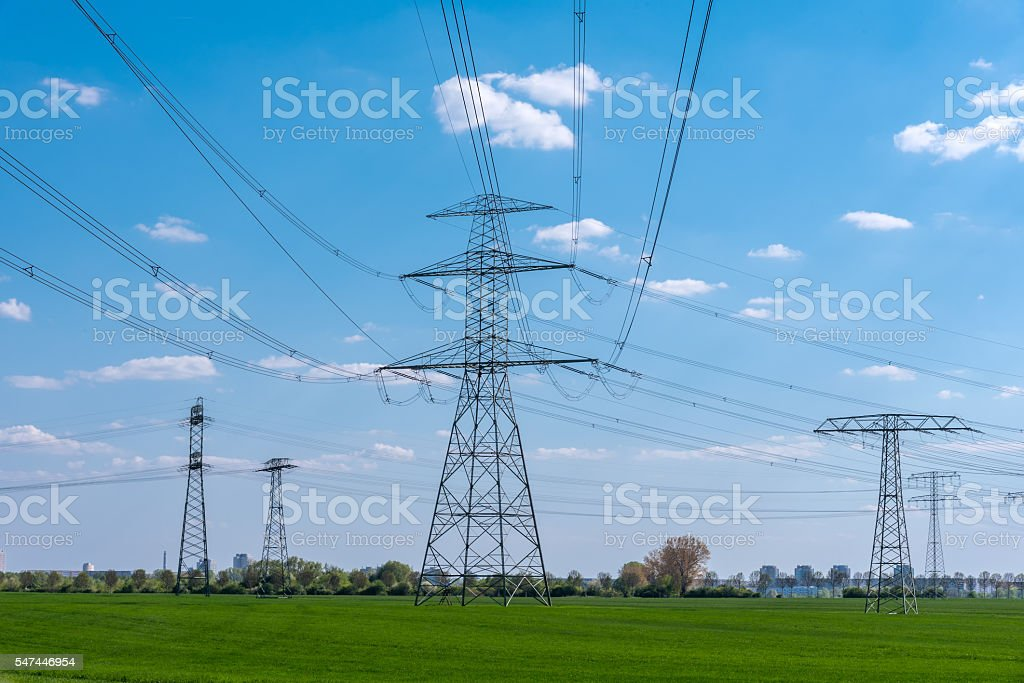 Power supply lines in rural Germany stock photo
