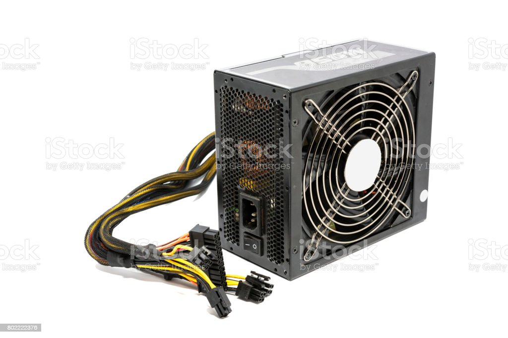 850W Power supply unit with cable and switch I O, black color for full ATX Tower case PC have big fan for cool ioslated on white background stock photo