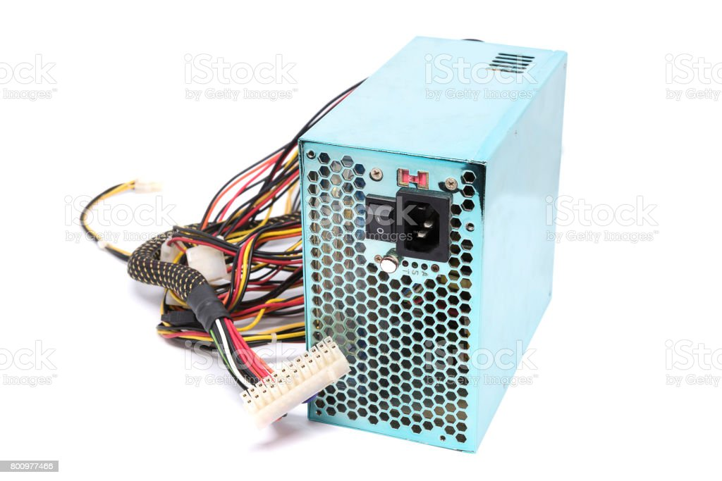 500W Power supply unit with cable and switch I O, green color for full ATX Tower case PC have big fan for cool ioslated on white background stock photo