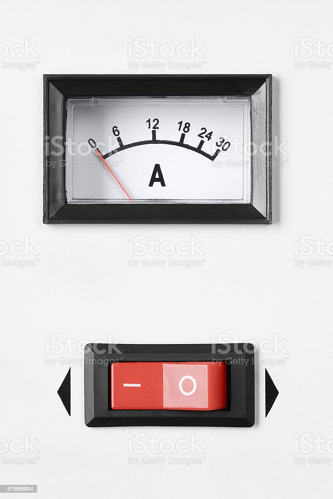 Power swith and ampermeter stock photo