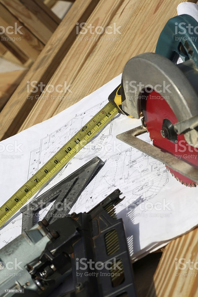 Power Tools on Construction Job Site royalty-free stock photo