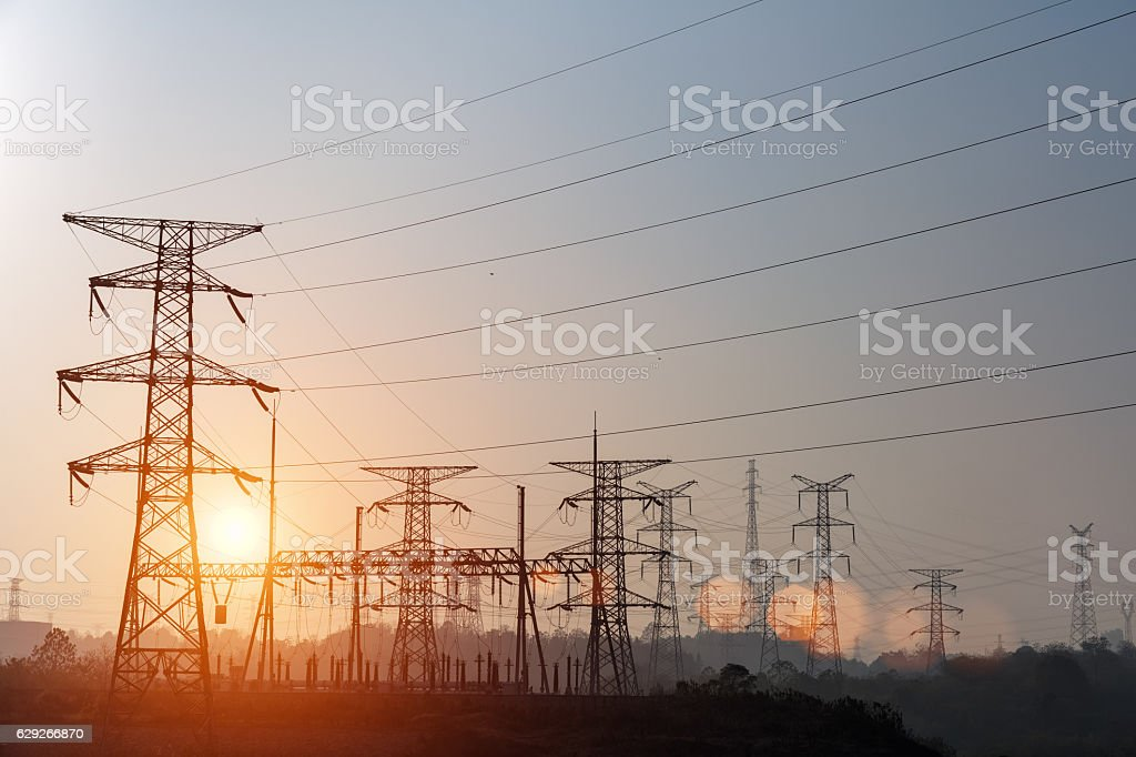 power tower in sunset stock photo
