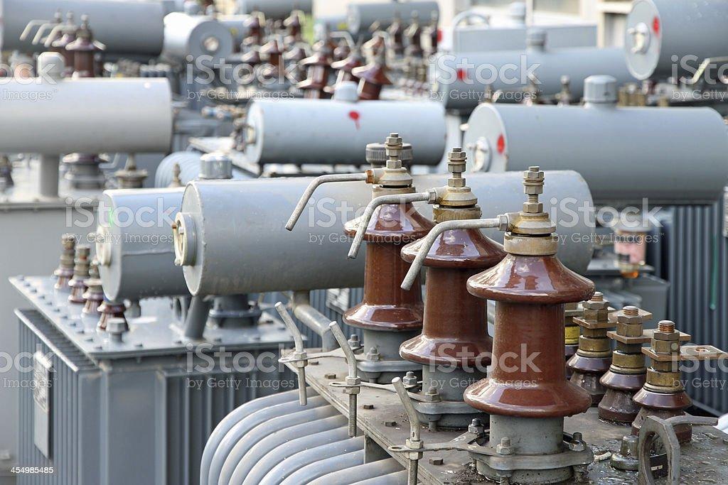 power transformer in a powerplant stock photo