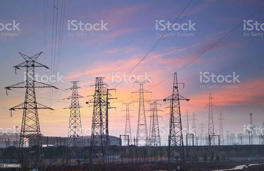 power transmission background at city suburb stock photo