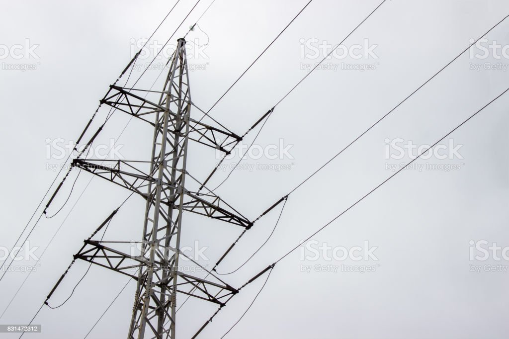 Power Transmission Line On a cloudy day stock photo