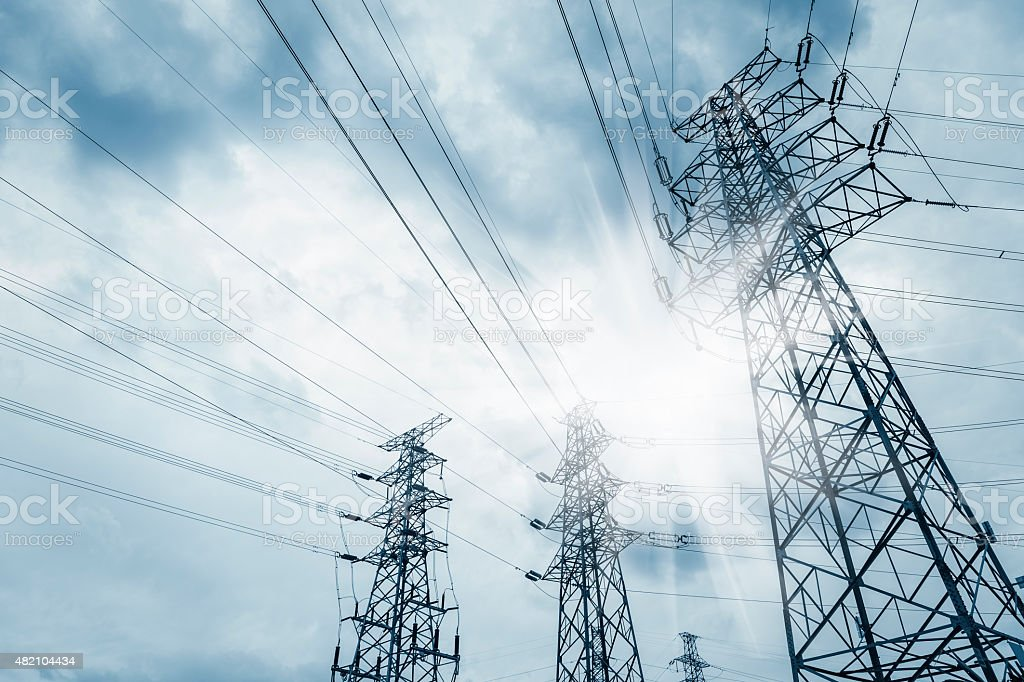 power transmission tower stock photo
