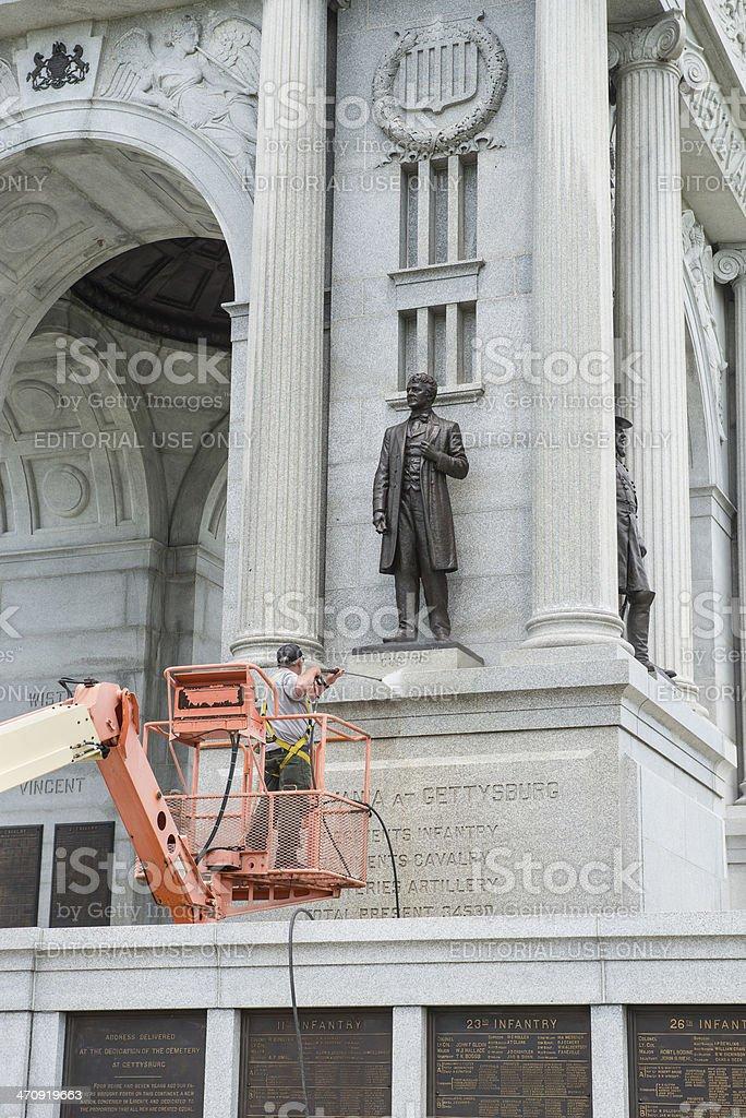 Power washing monument @ Gettysburg. stock photo