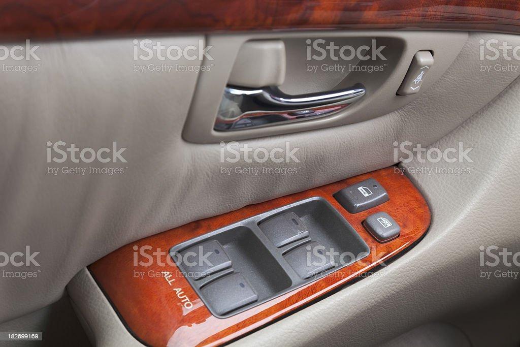 power window control panel in luxury car stock photo
