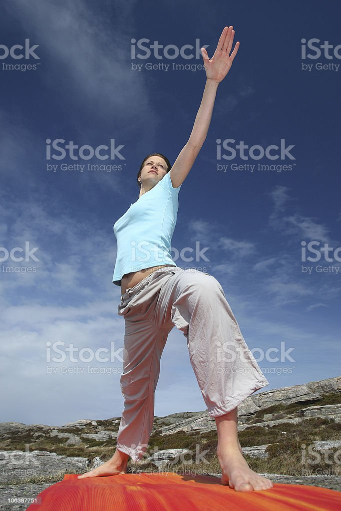 Power yoga warrior two position royalty-free stock photo