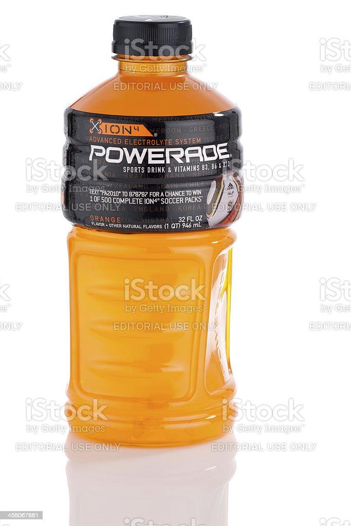 Powerade Sports Drink, 32 oz size, orange flavor (isolated) stock photo