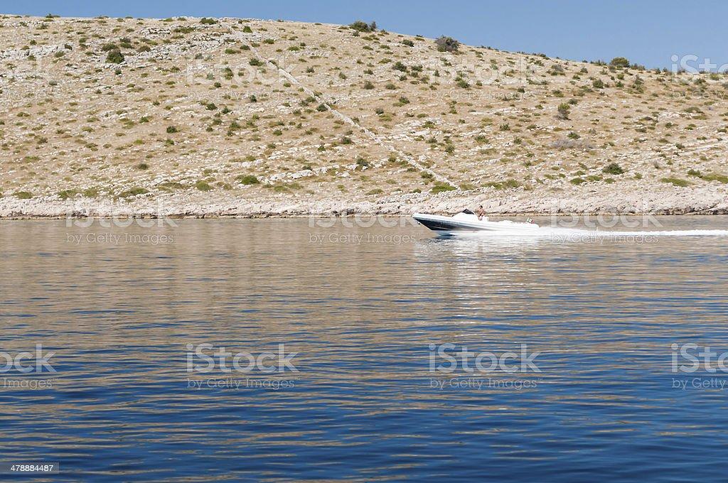 Powerboat Kornati National Park, Croatia royalty-free stock photo