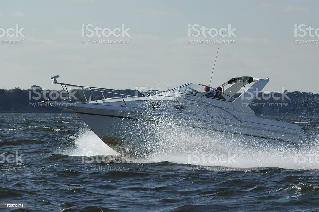 Powerboat on the bay royalty-free stock photo