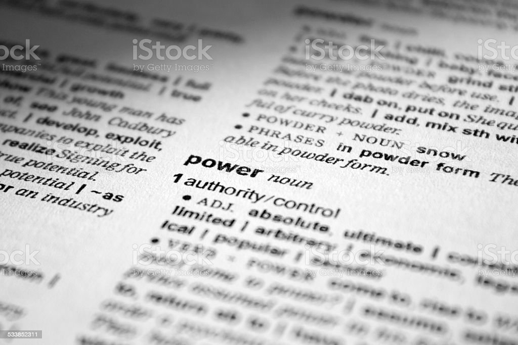 power-definition in dictionary stock photo