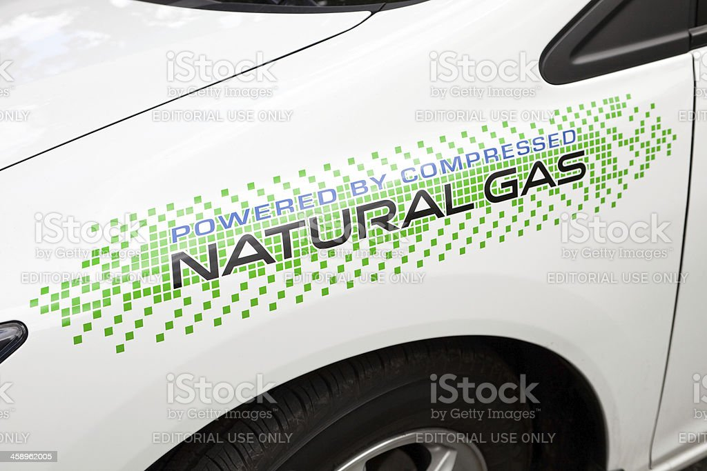 Powered By Compressed Natural Gas Sticker on Car Fender stock photo