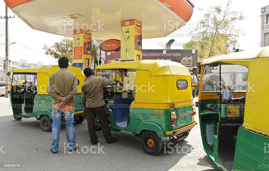 CNG Powered Indian Auto Rickshaws royalty-free stock photo