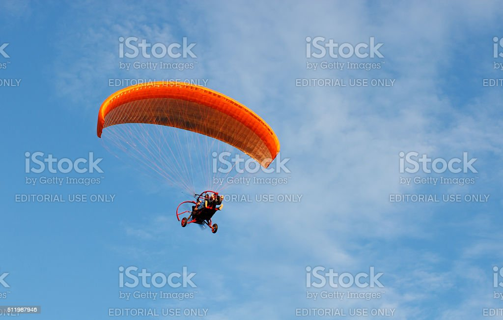 Powered paraglider stock photo