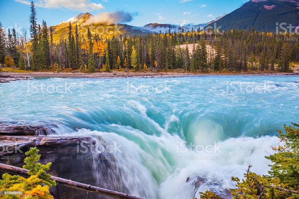 Powerful and scenic Athabasca Falls stock photo