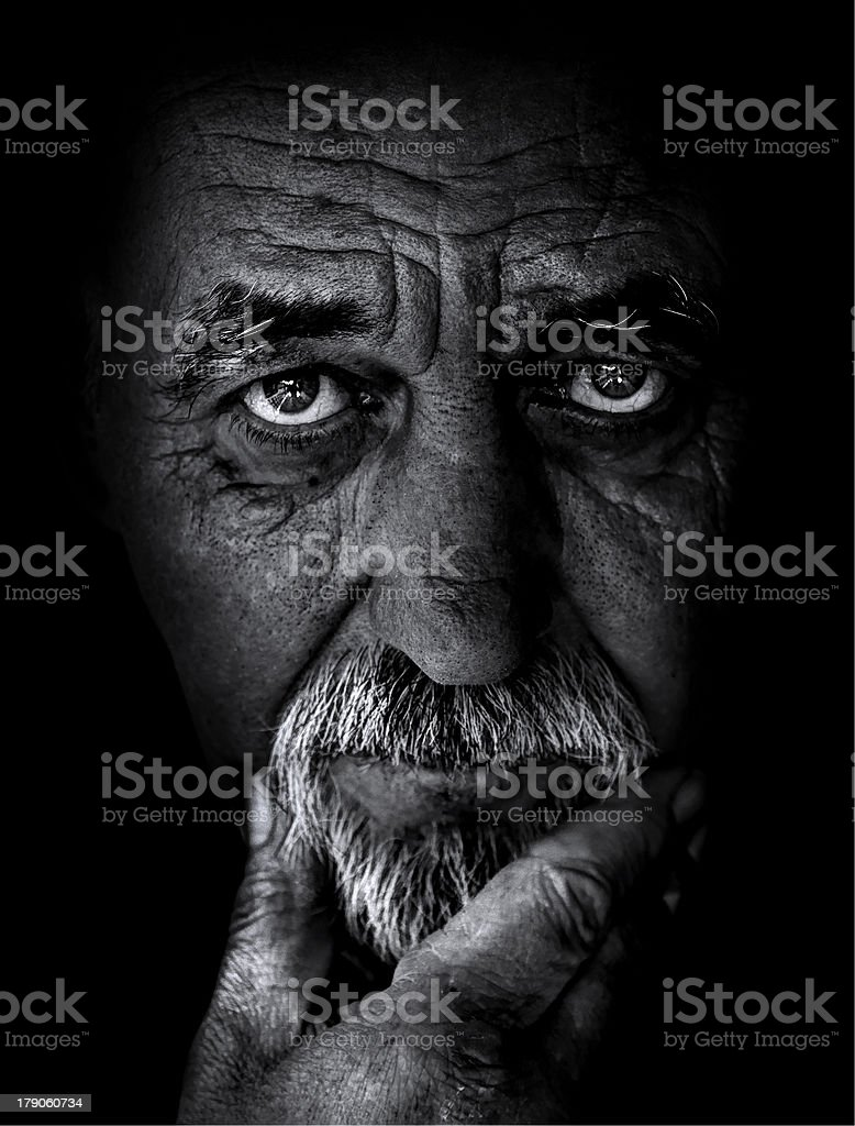 Powerful back and white portrait stock photo