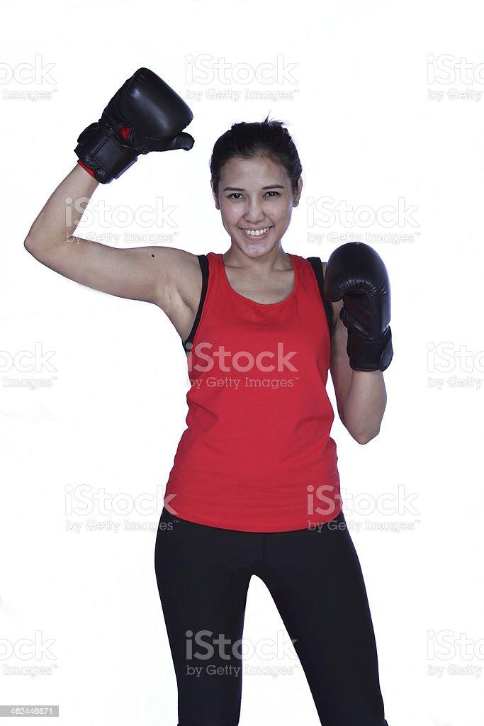 Powerful boxer woman stock photo