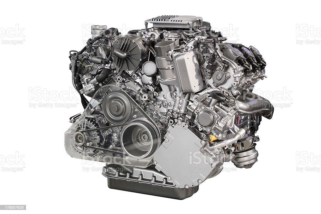powerful car engine isolated on white royalty-free stock photo