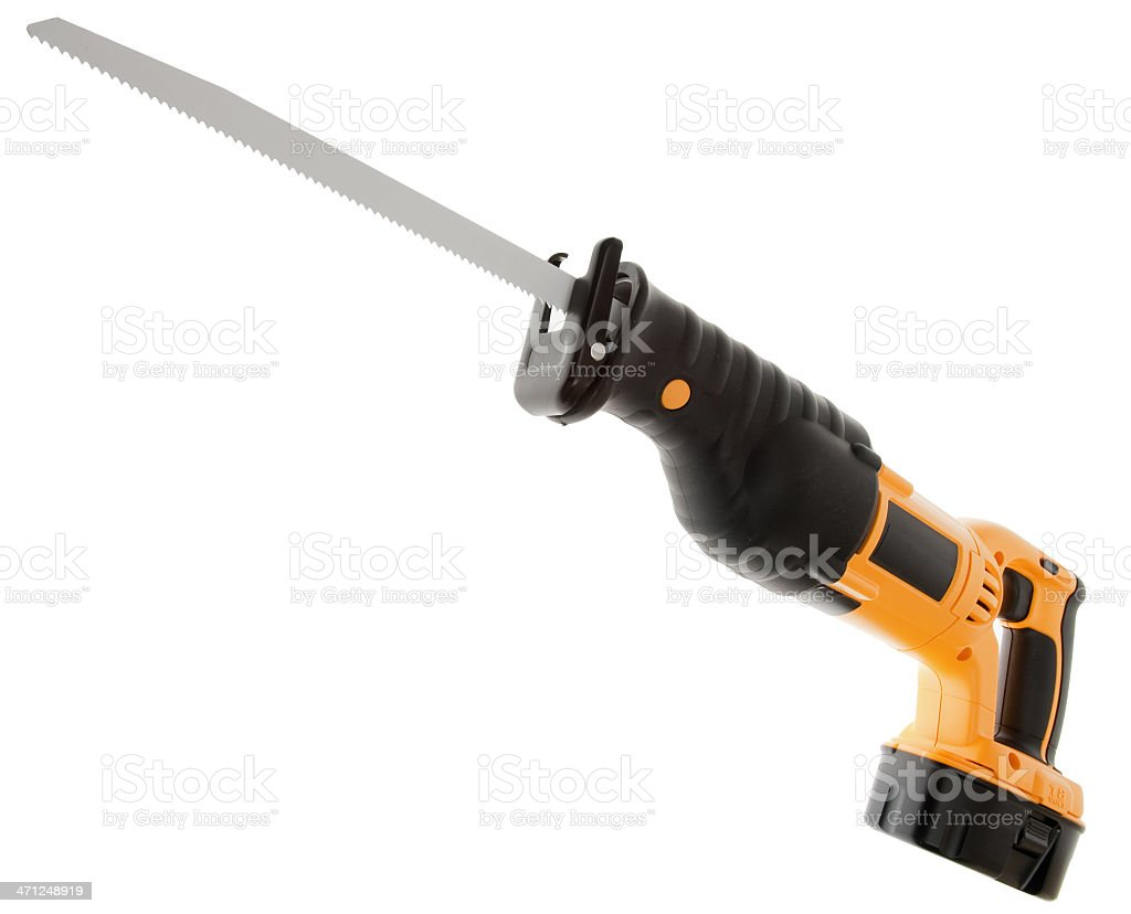 Powerful Cordless Reciprocating Saw, Wood Working Construction Tool, Isolated stock photo