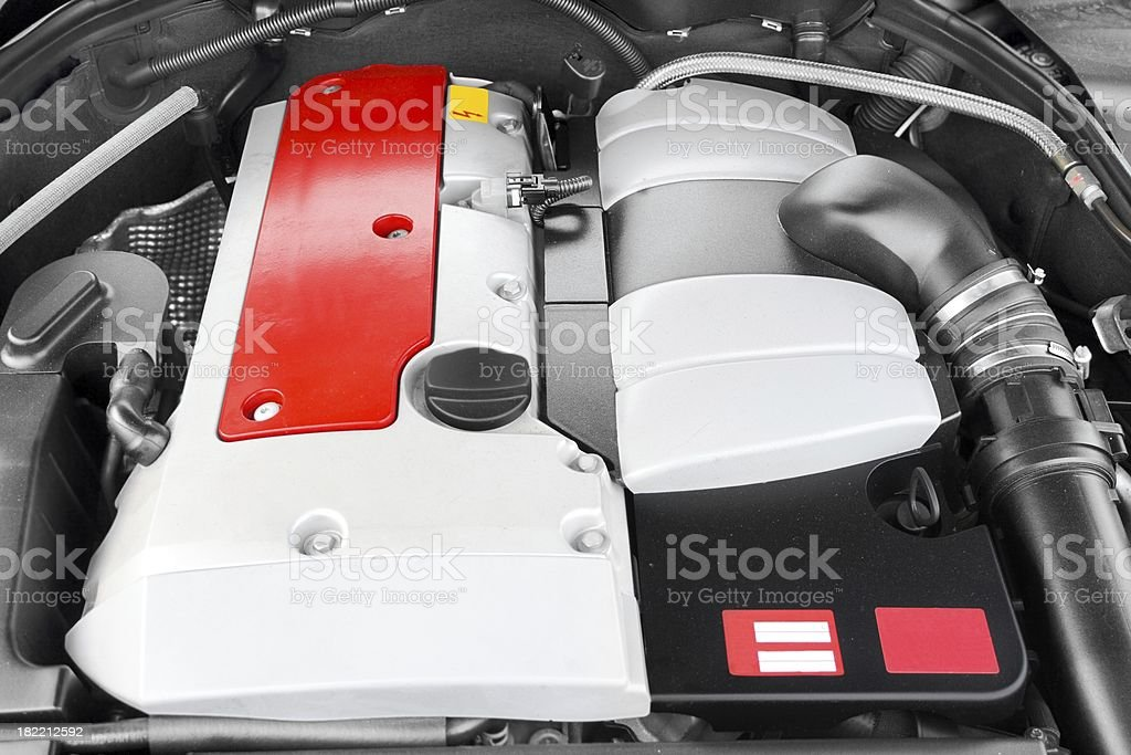 Powerful engine of modern luxury vehicle with compressor stock photo