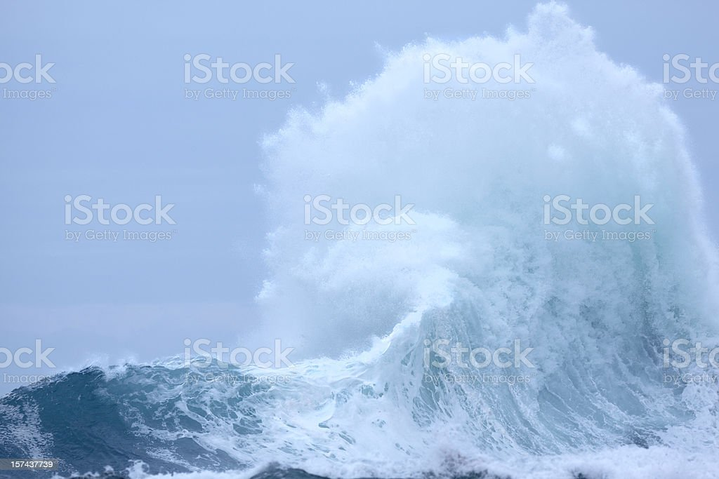 Powerful Exploding Wave with surf and spray stock photo