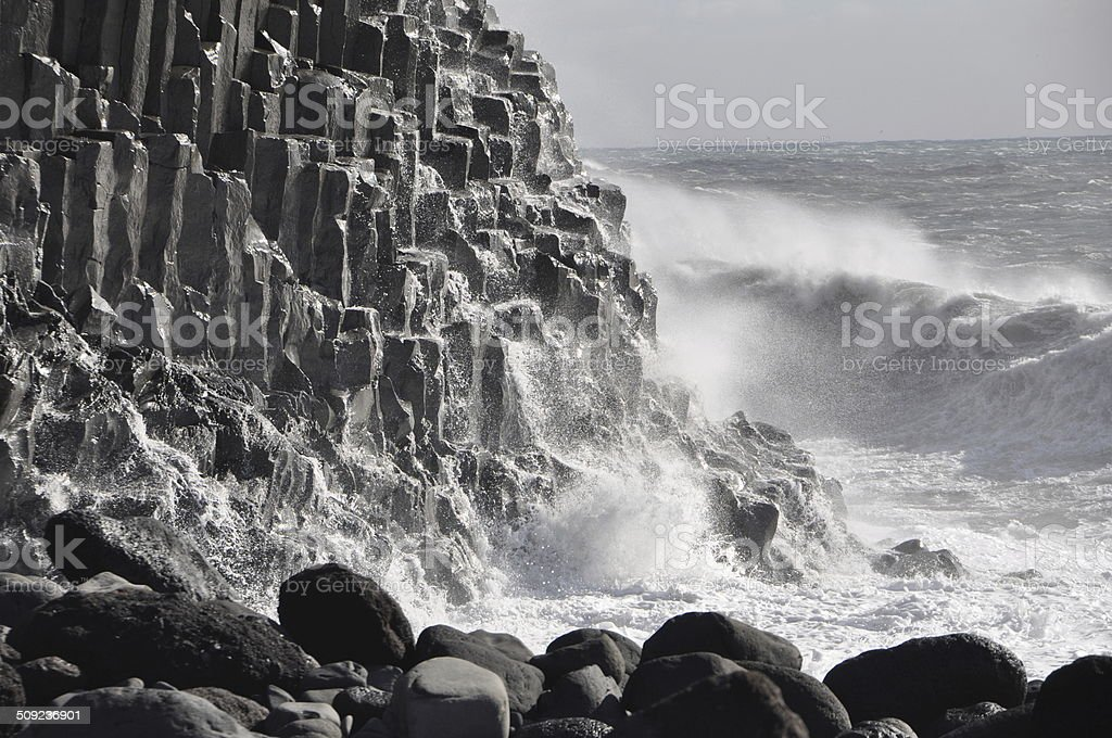 Powerful Forces of Nature: Sureal Rock Formations, Iceland stock photo