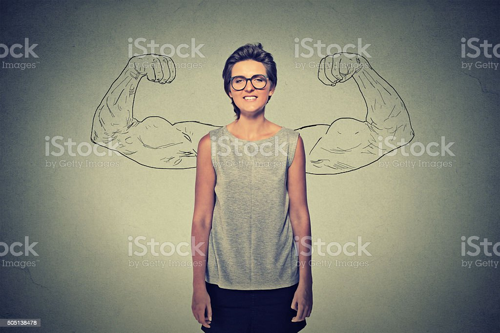 Powerful girl with glasses. stock photo