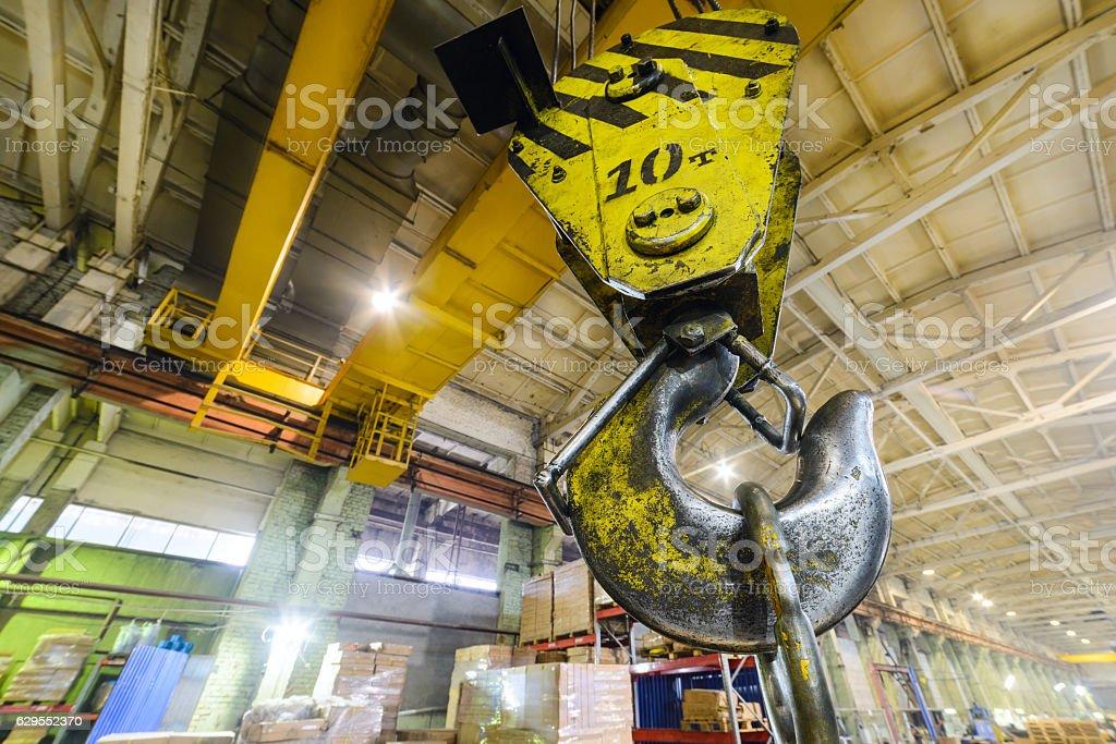 Powerful hook crane close-up. stock photo