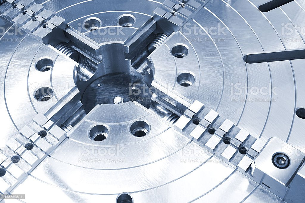 Powerful industrial equipment rotary table close-up stock photo