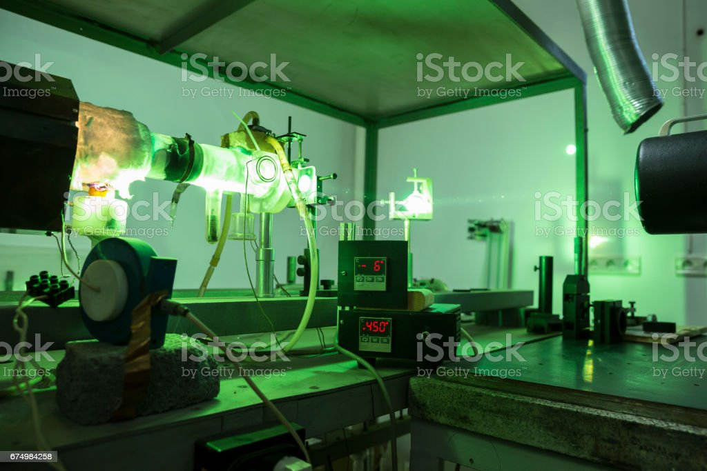 Powerful industrial green LASER for research stock photo