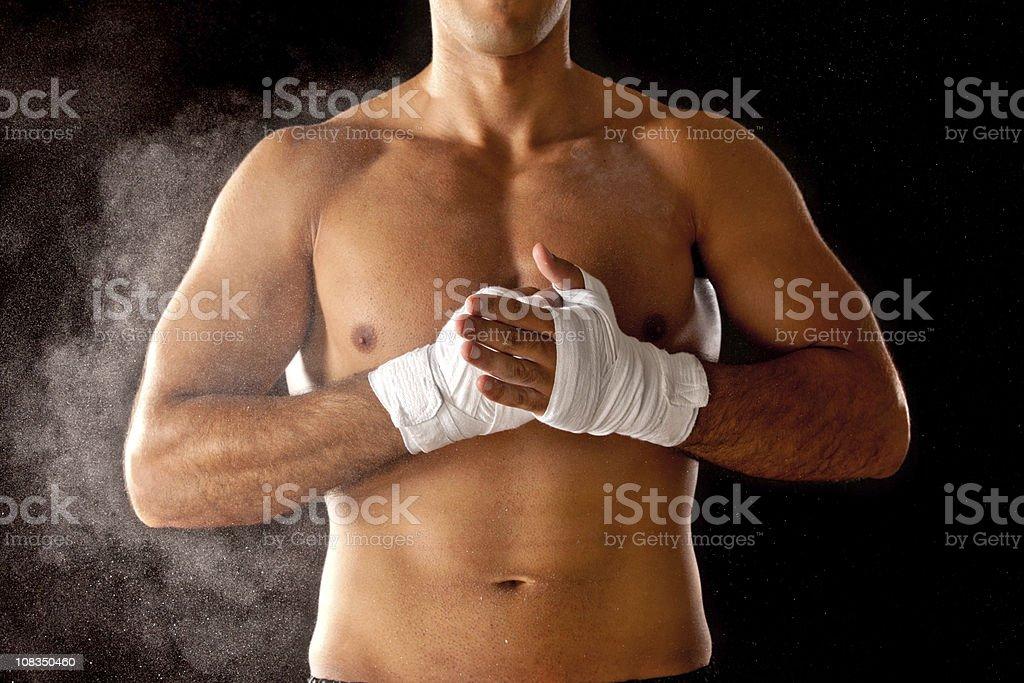 powerful kickboxer detail stock photo