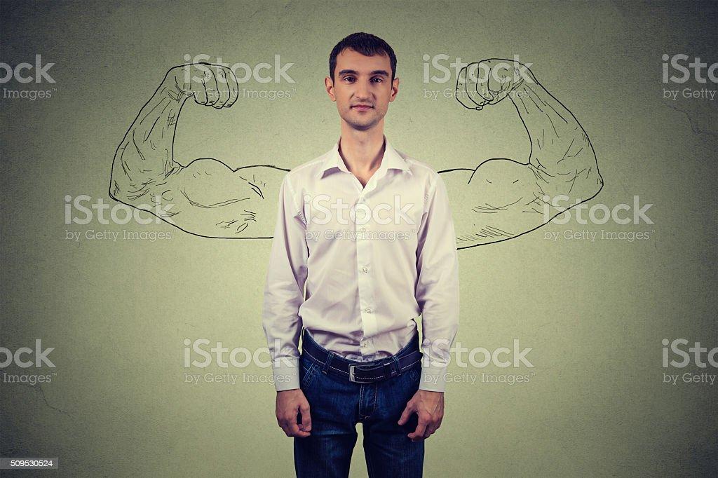 Powerful man reality vs ambition wishful thinking concept stock photo