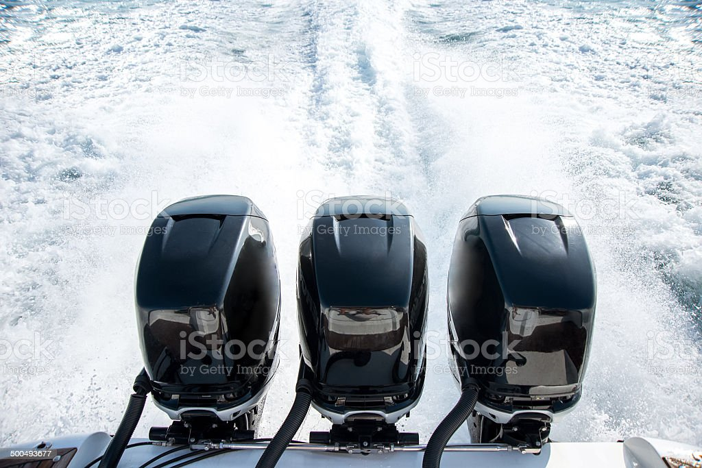 Powerful motor for sports boat stock photo