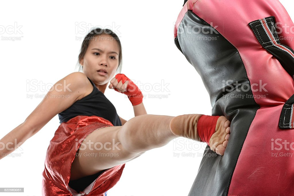 Powerful Muay Thai Roundhouse stock photo