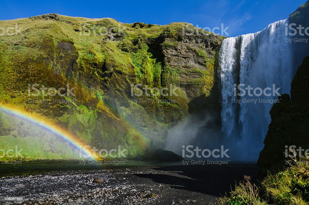 Powerful Skogafoss Waterfall in Iceland stock photo