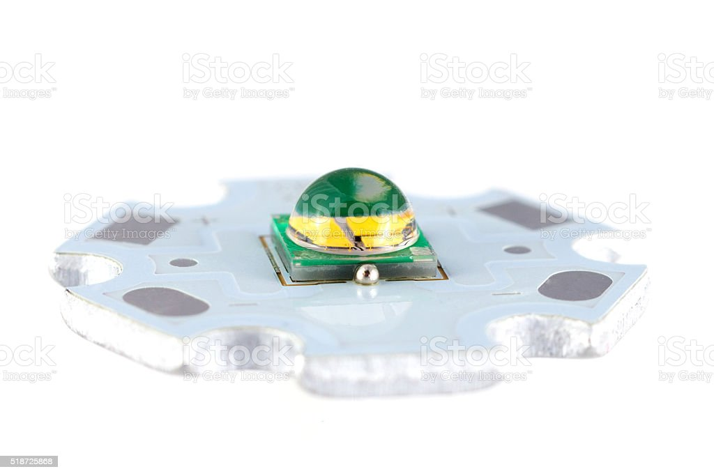 Powerful smd LED on aluminum star circuit stock photo