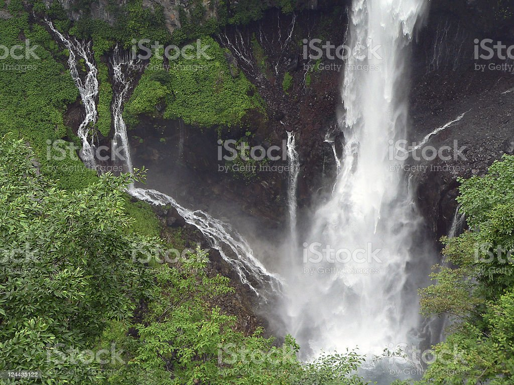 powerful summer waterfall royalty-free stock photo