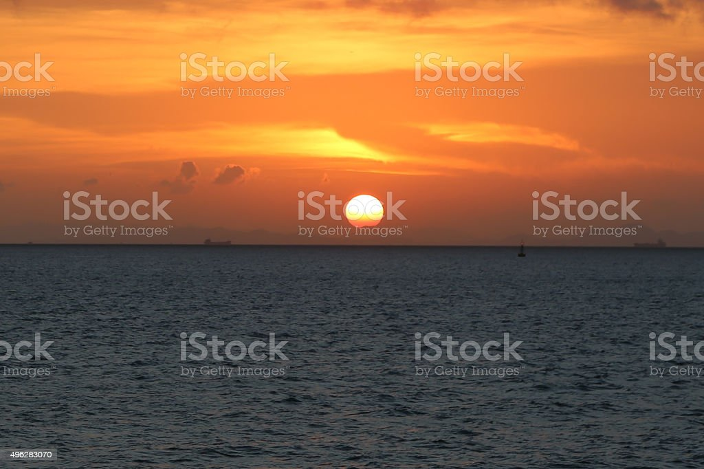 Powerful Sunset under a Clear Sky stock photo