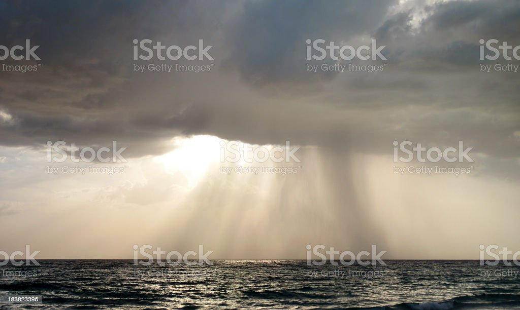 Powerful Thunderstorm Over Sea royalty-free stock photo