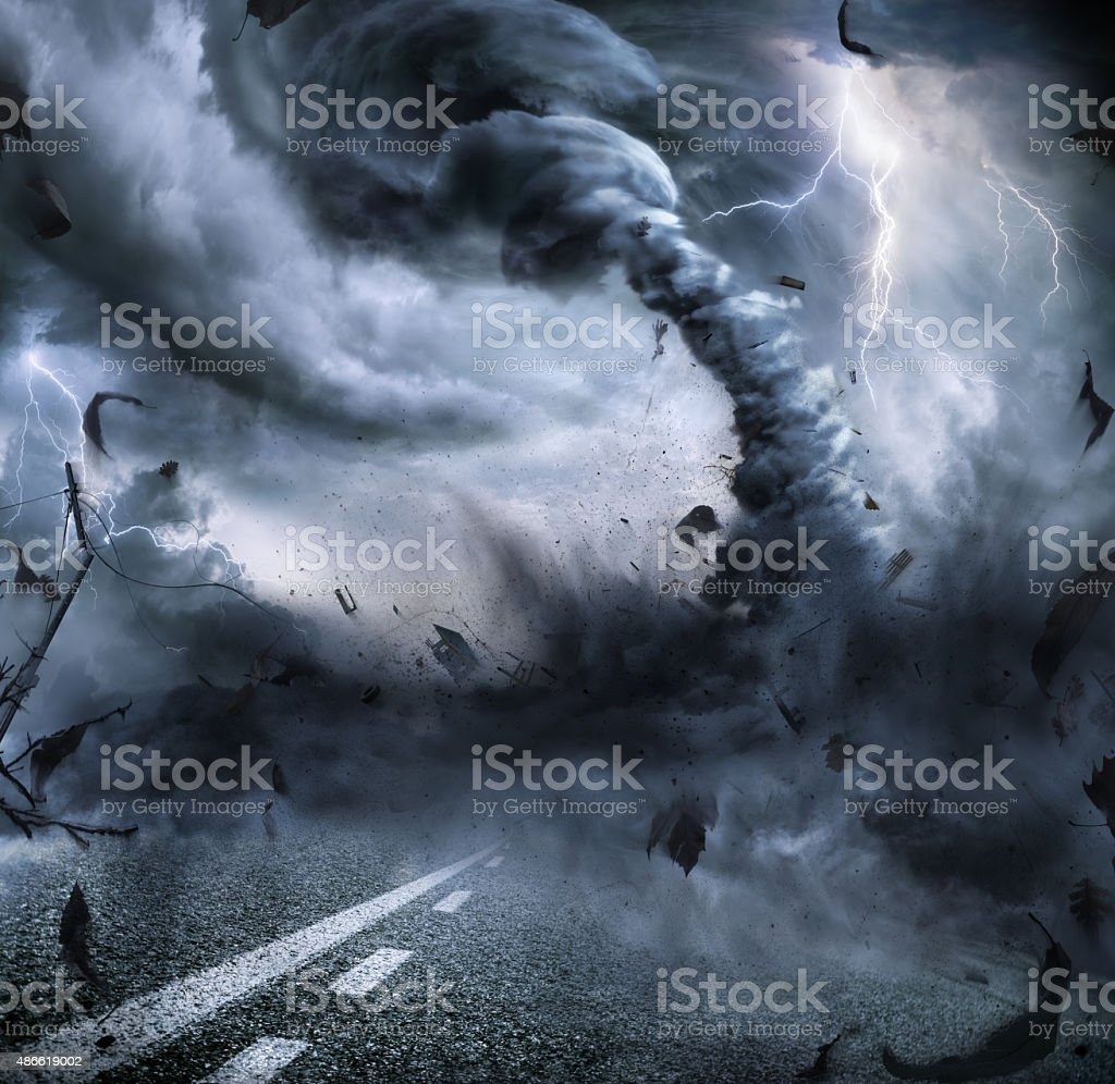 Powerful Tornado - Dramatic Destruction stock photo