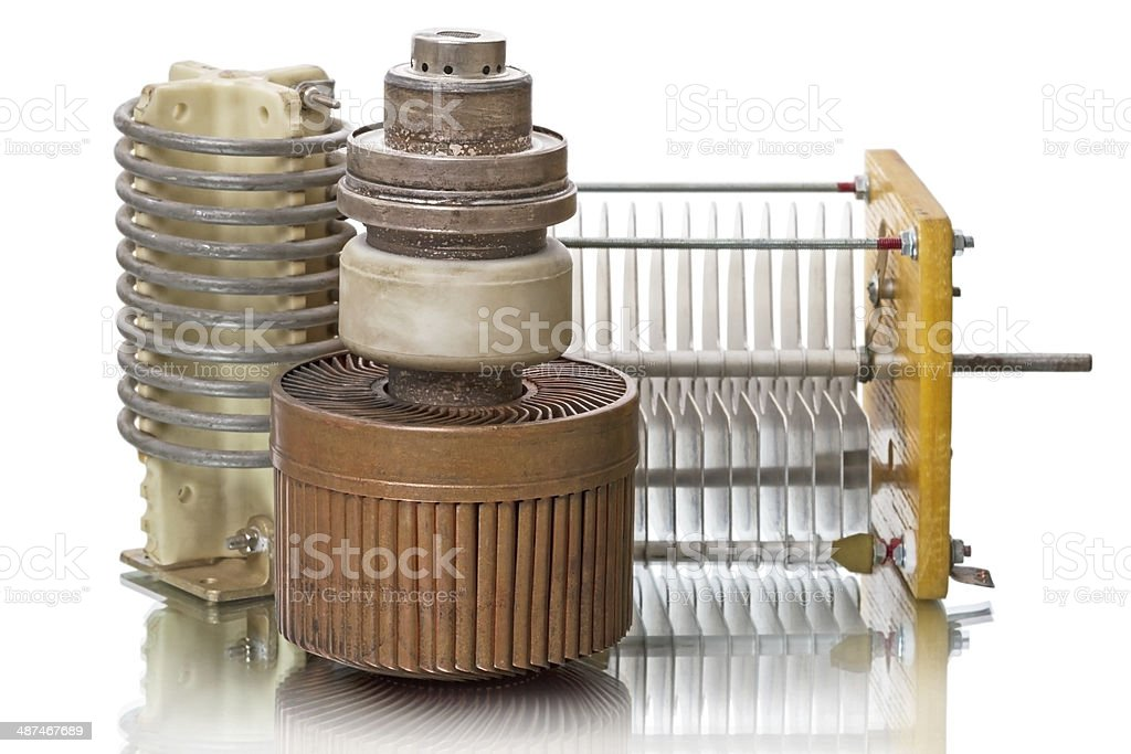 Powerful triode, inductor and capacitor stock photo