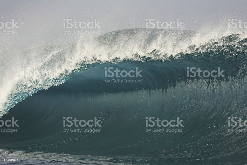 powerful wave in the South Pacific stock photo