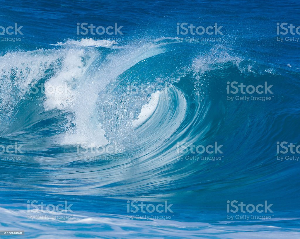 Powerful waves break at Lumahai Beach, Kauai stock photo
