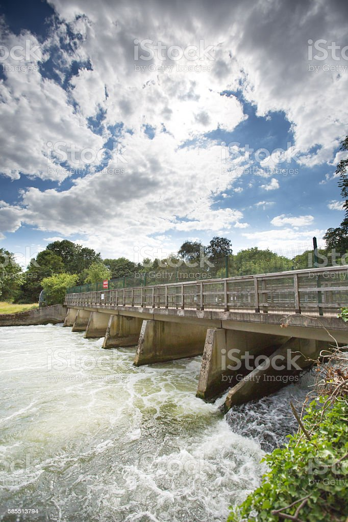 Powerful weir near Cookham, Berkshire on the River Thames stock photo