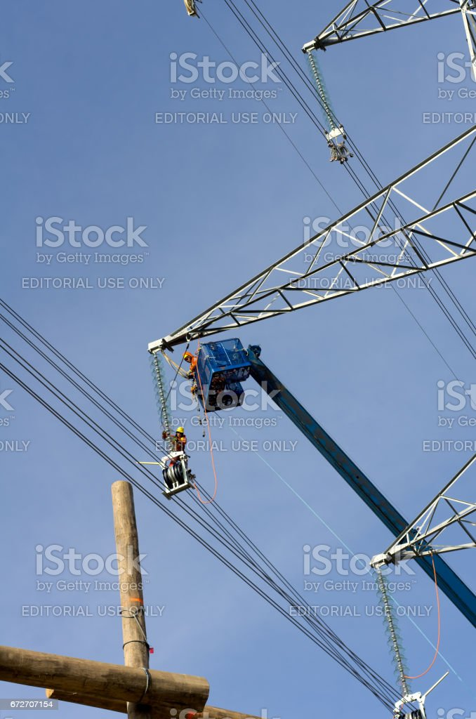 Powerline Construction Workers stock photo