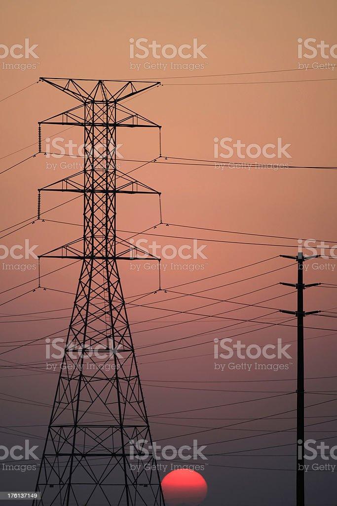 Powerline Sunset stock photo