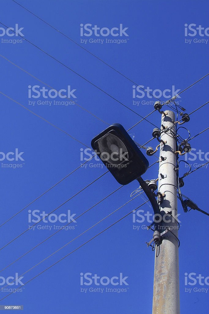 Powerlines and lantern royalty-free stock photo