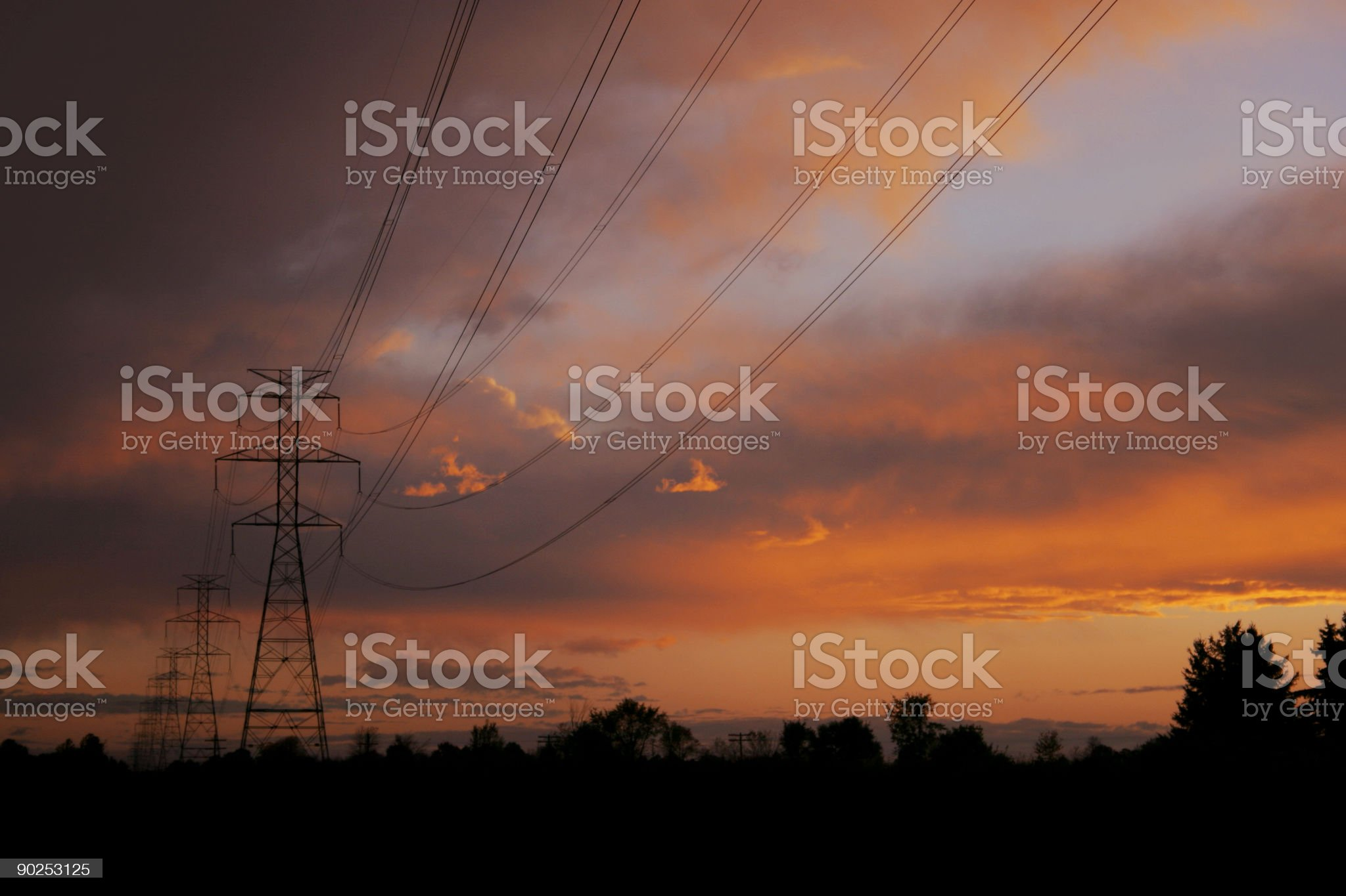 Powerlines at sunset1 royalty-free stock photo